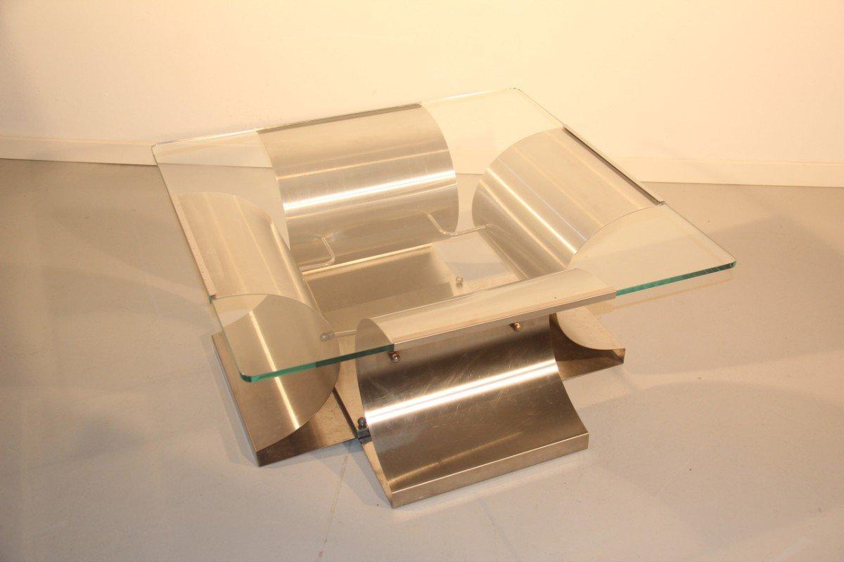 Table basse en acier et en verre par francois monnet for Table basse en verre et acier