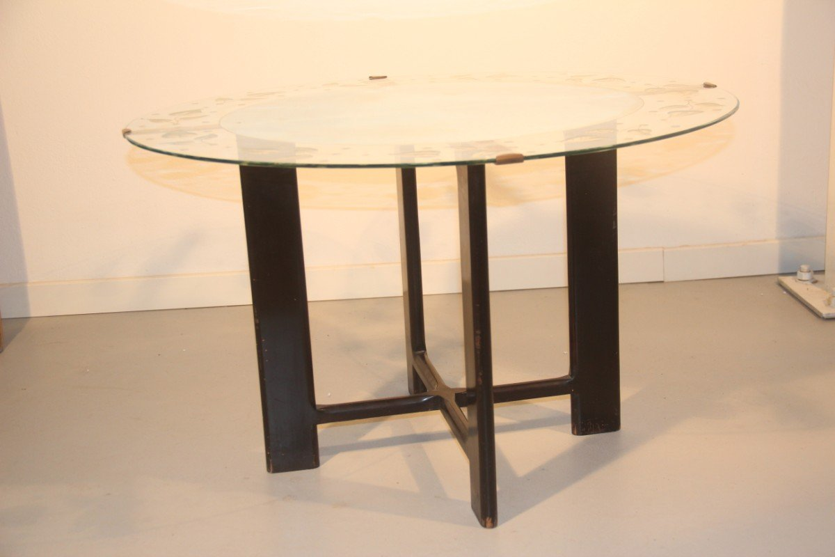 runder vintage couchtisch aus glas mit bl ttermuster. Black Bedroom Furniture Sets. Home Design Ideas
