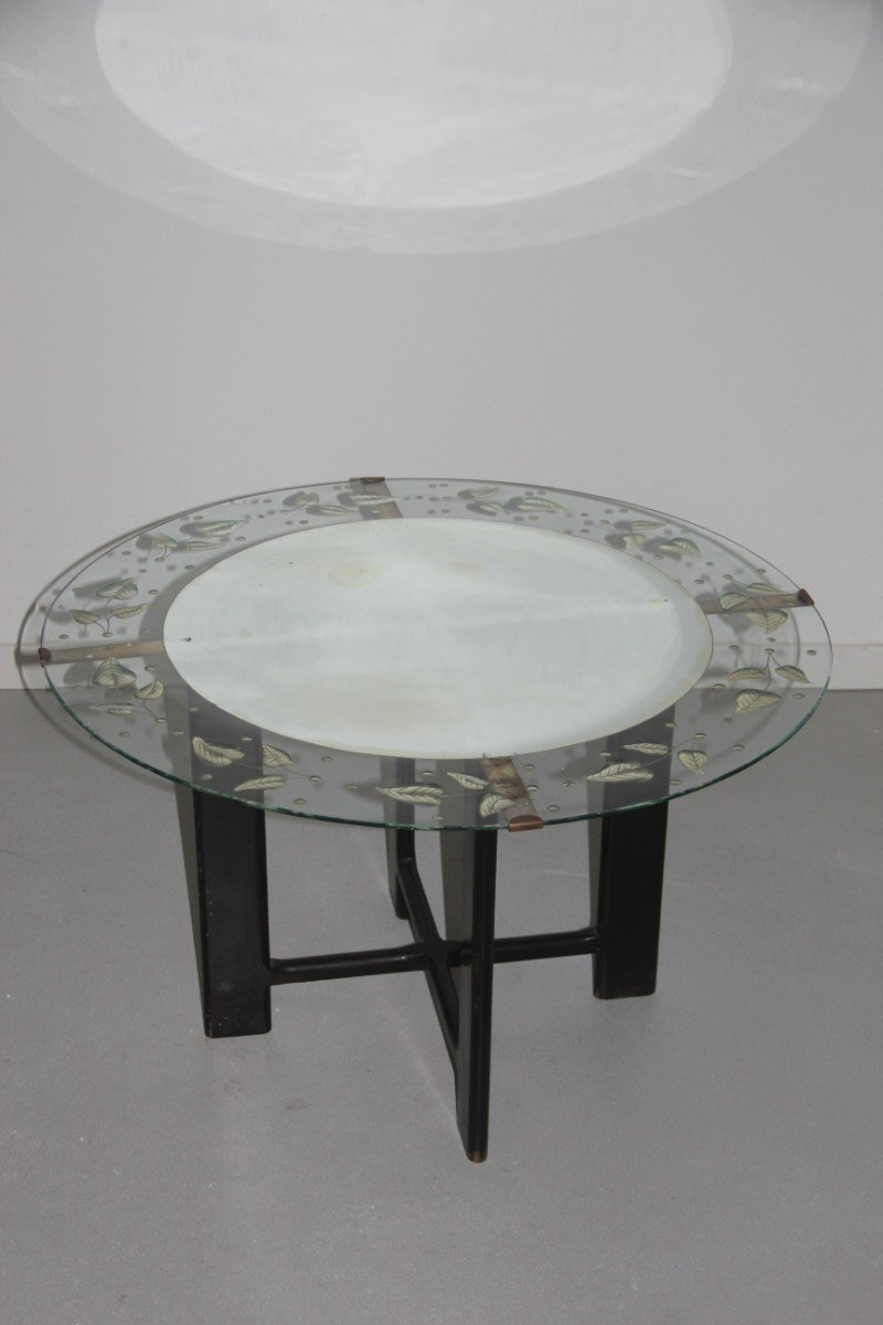 Vintage round glass coffee table with leaf pattern 1950s for Round glass coffee tables for sale