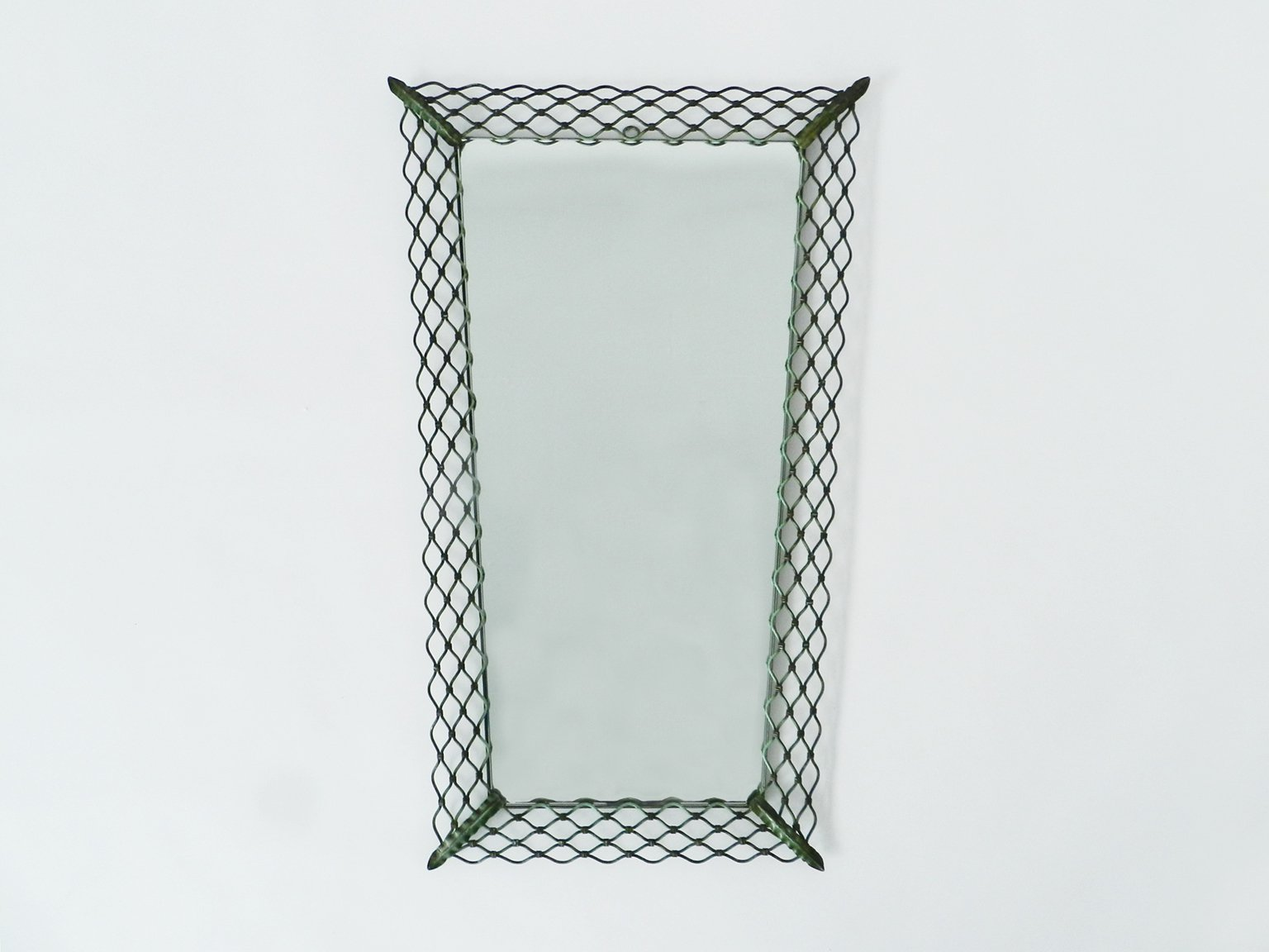 Vintage italian metal frame mirror for sale at pamono for Metal frame mirror