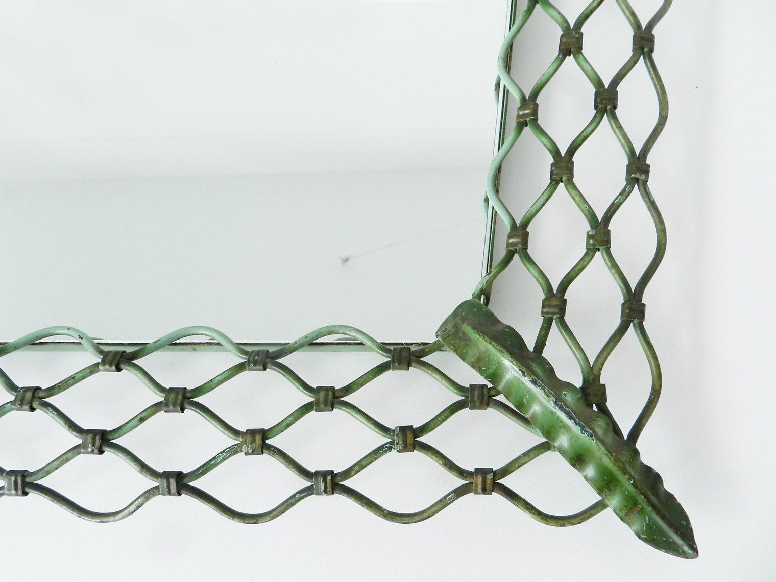 italienischer vintage spiegel mit metallrahmen bei pamono. Black Bedroom Furniture Sets. Home Design Ideas