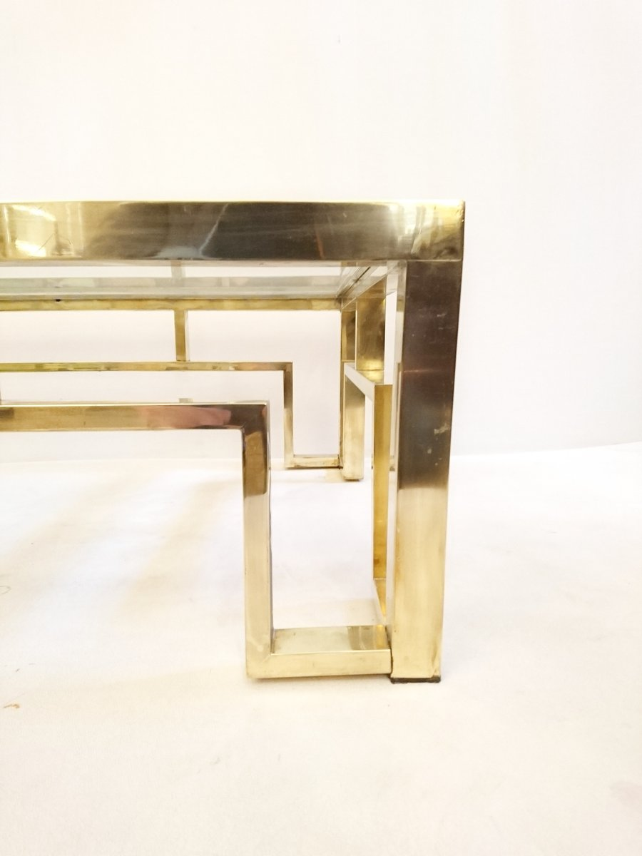 Italian Brass Frame Coffee Table 1970s For Sale At Pamono