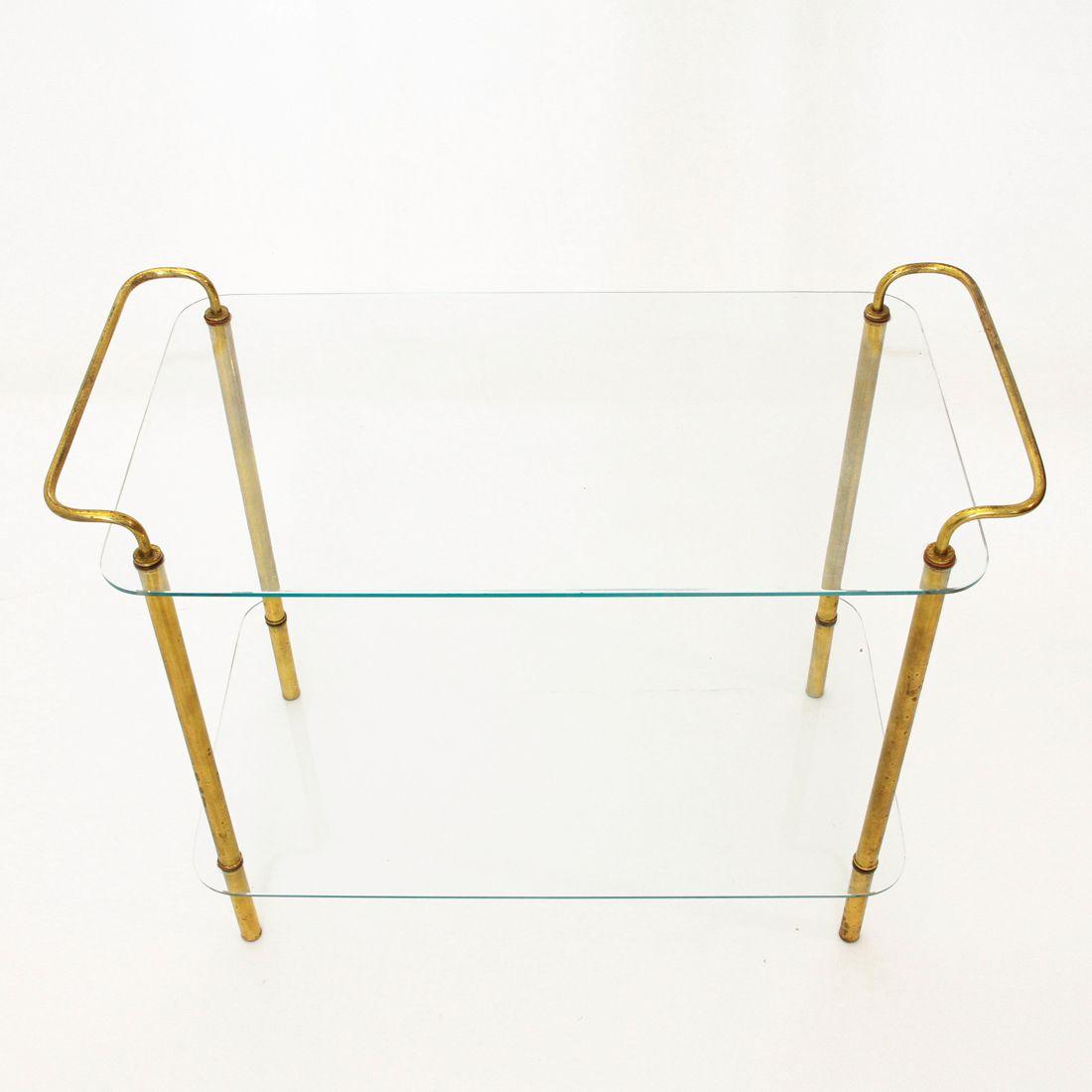 italienischer mid century beistelltisch aus messing mit. Black Bedroom Furniture Sets. Home Design Ideas