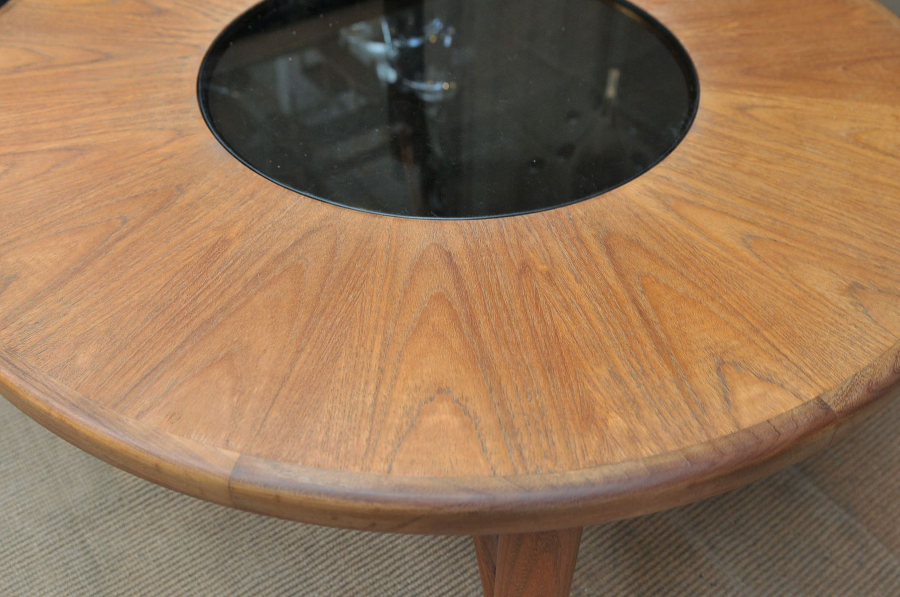 Teak and brass teak round coffee table with removable center for sale at pamono Brass round coffee table