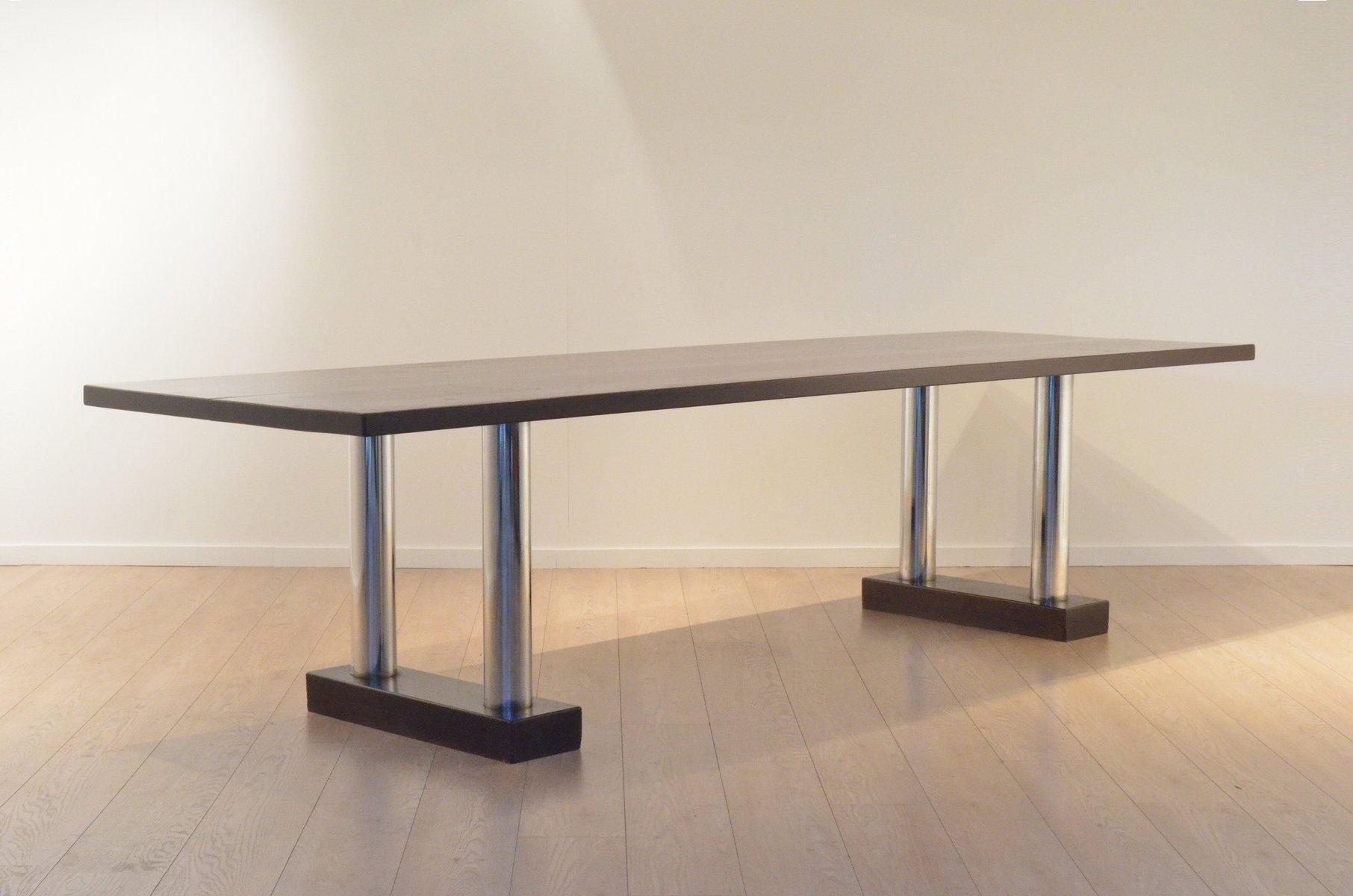 grande table de salle manger en chrome et weng. Black Bedroom Furniture Sets. Home Design Ideas