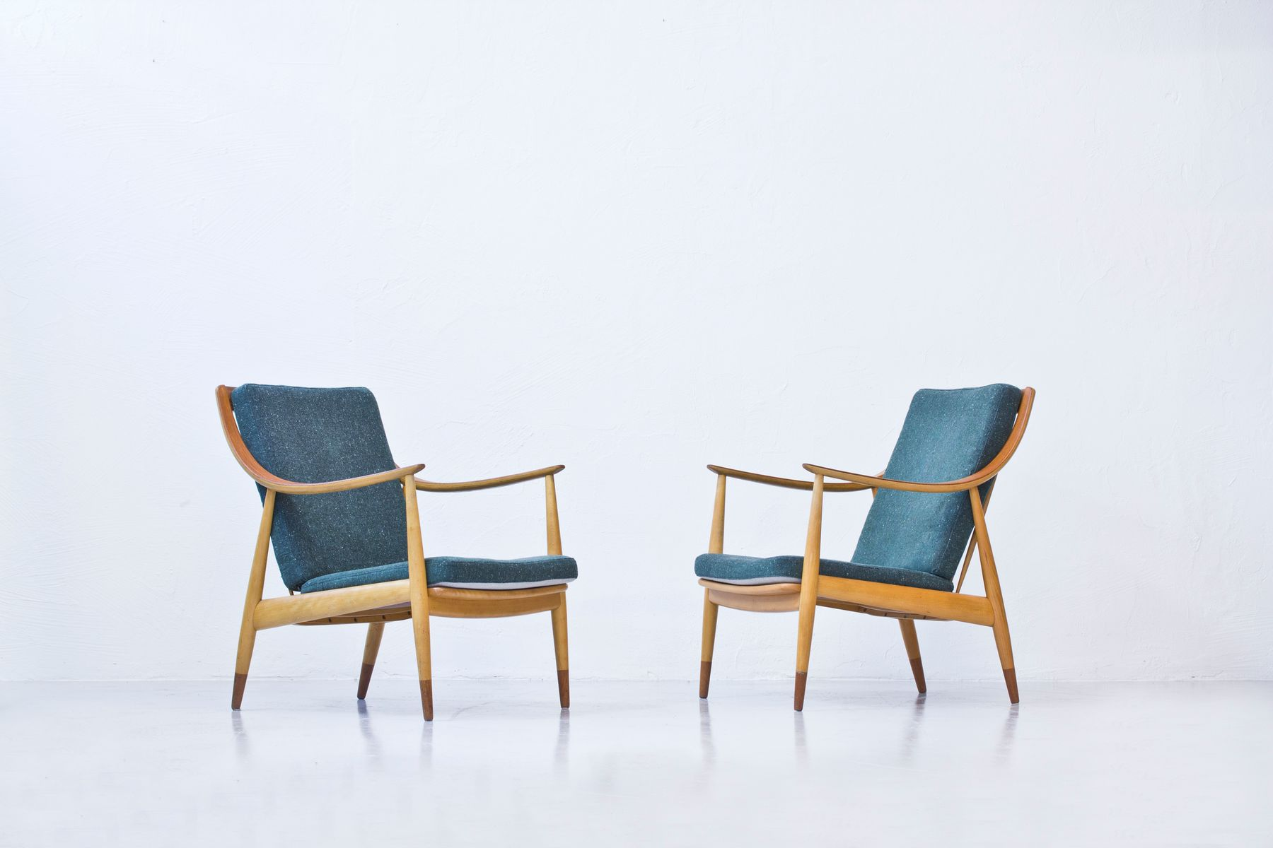 Danish Beech and Teak Easy Chairs by Hvidt & M¸lgaard for France