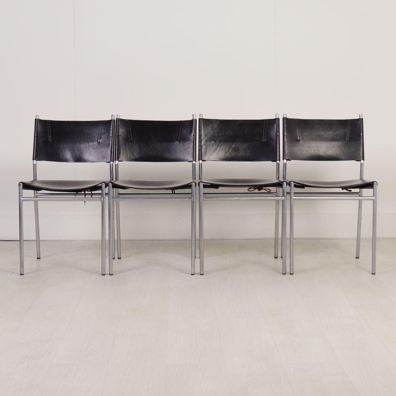 niederl ndische se 06 esszimmerst hle aus eisen leder von martin visser f r t spectrum. Black Bedroom Furniture Sets. Home Design Ideas