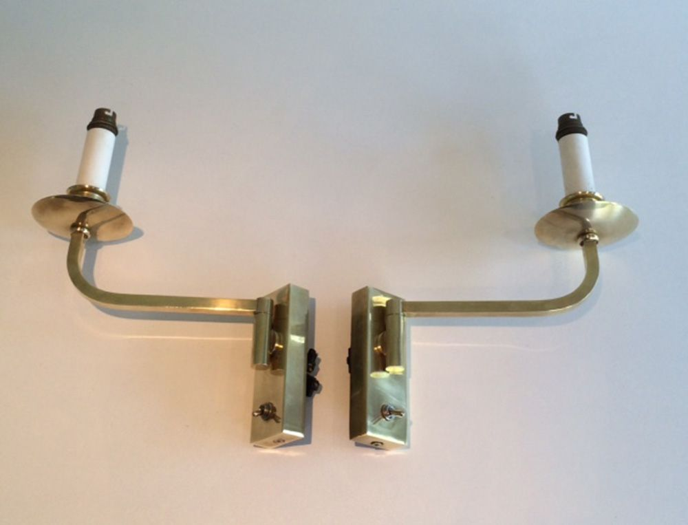 Vintage Brass Swivel Wall Lights, Set of 2 for sale at Pamono