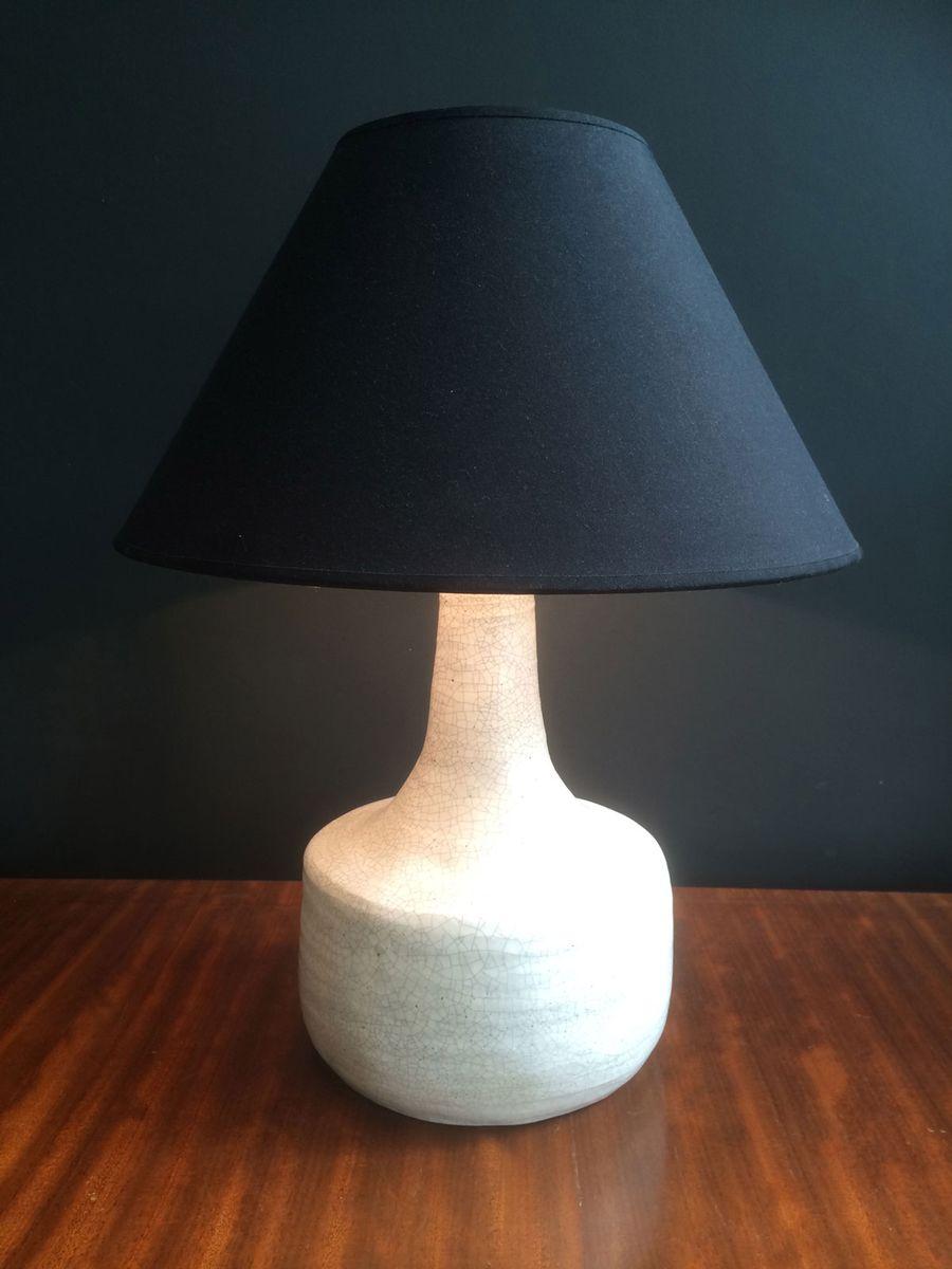 lampe vintage blanche en c ramique en vente sur pamono. Black Bedroom Furniture Sets. Home Design Ideas