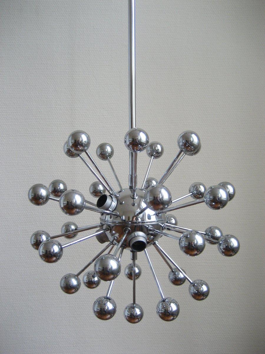 franz sische vintage sputnik lampe mit 33 kugeln bei