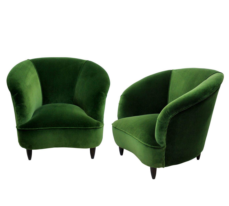 Vintage lounge sessel mit smaragdgr nem samtbezug von ico for Vintage sessel berlin