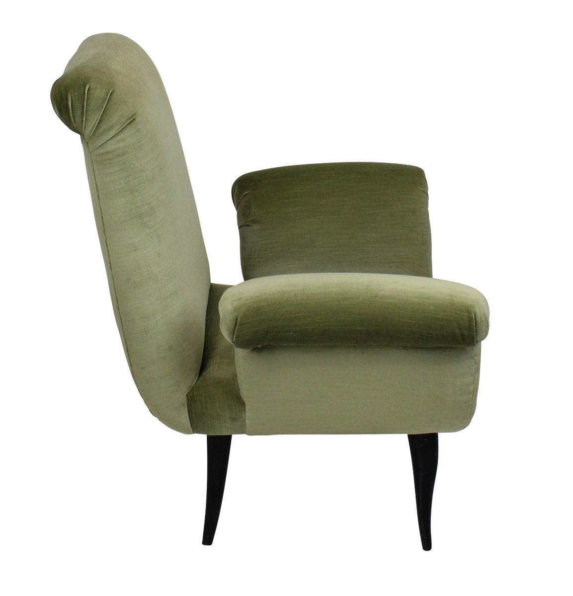 fauteuils vintage en velours vert italie set de 2 en. Black Bedroom Furniture Sets. Home Design Ideas
