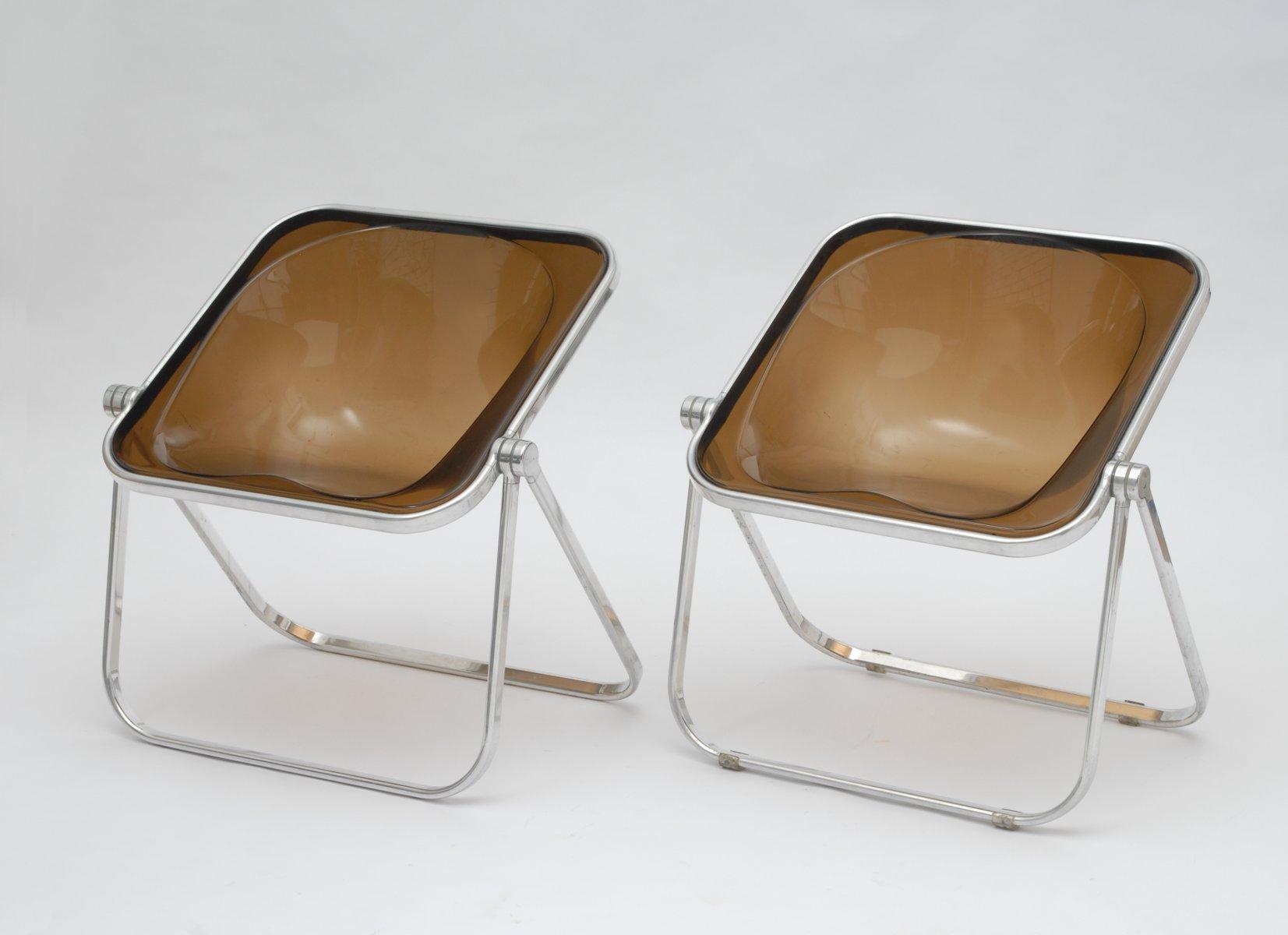 braune plone lounge st hle von giancarlo piretti f r. Black Bedroom Furniture Sets. Home Design Ideas