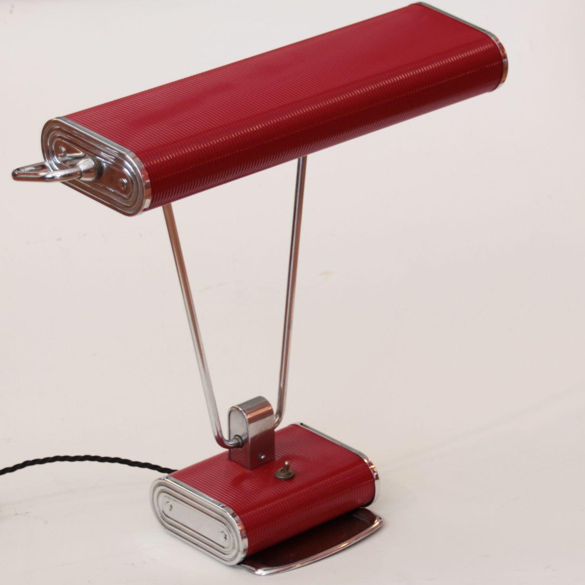 lampe de bureau art d co rouge chrom e par eileen gray pour jumo france en vente sur pamono. Black Bedroom Furniture Sets. Home Design Ideas