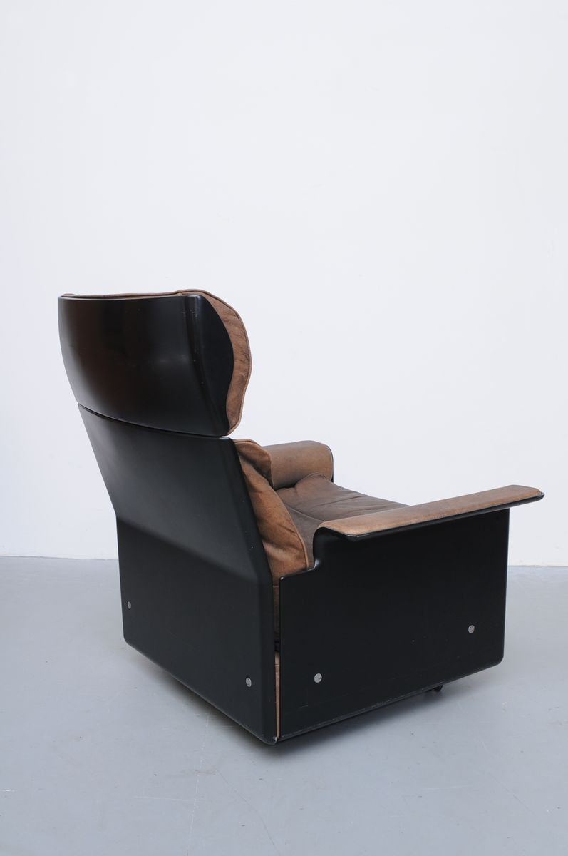 Brown Leather Lounge Chair And Ottoman By Dieter Rams For