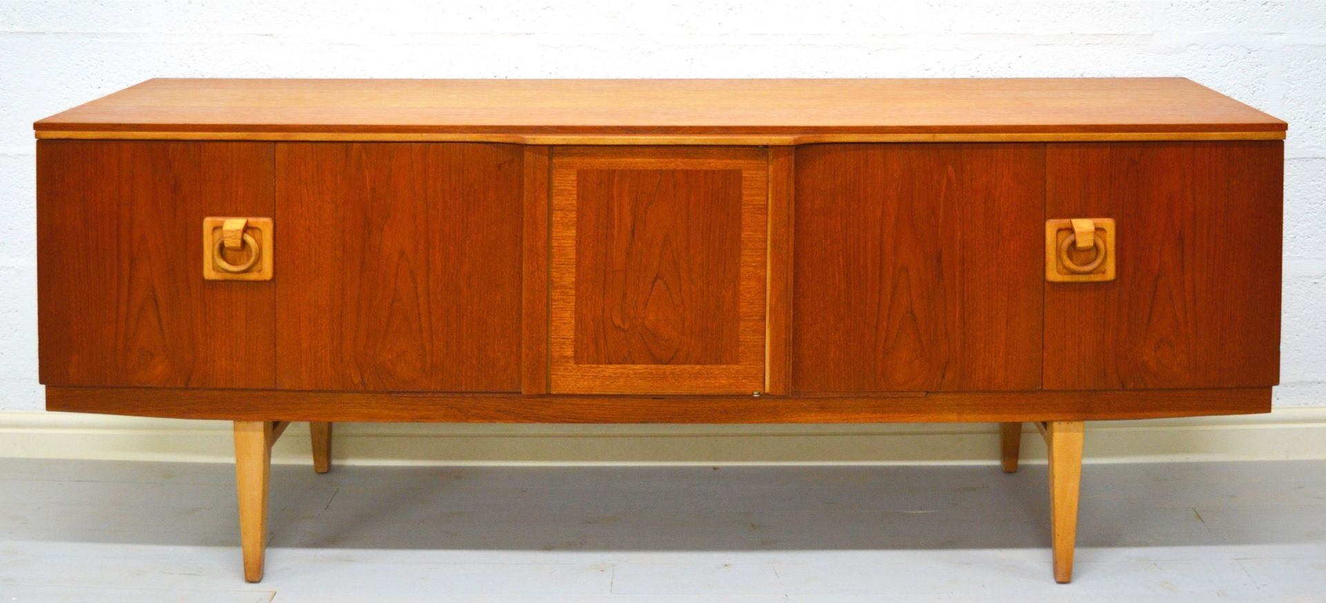 Mid Century Teak Sideboard With Liquor Cabinet For Sale At