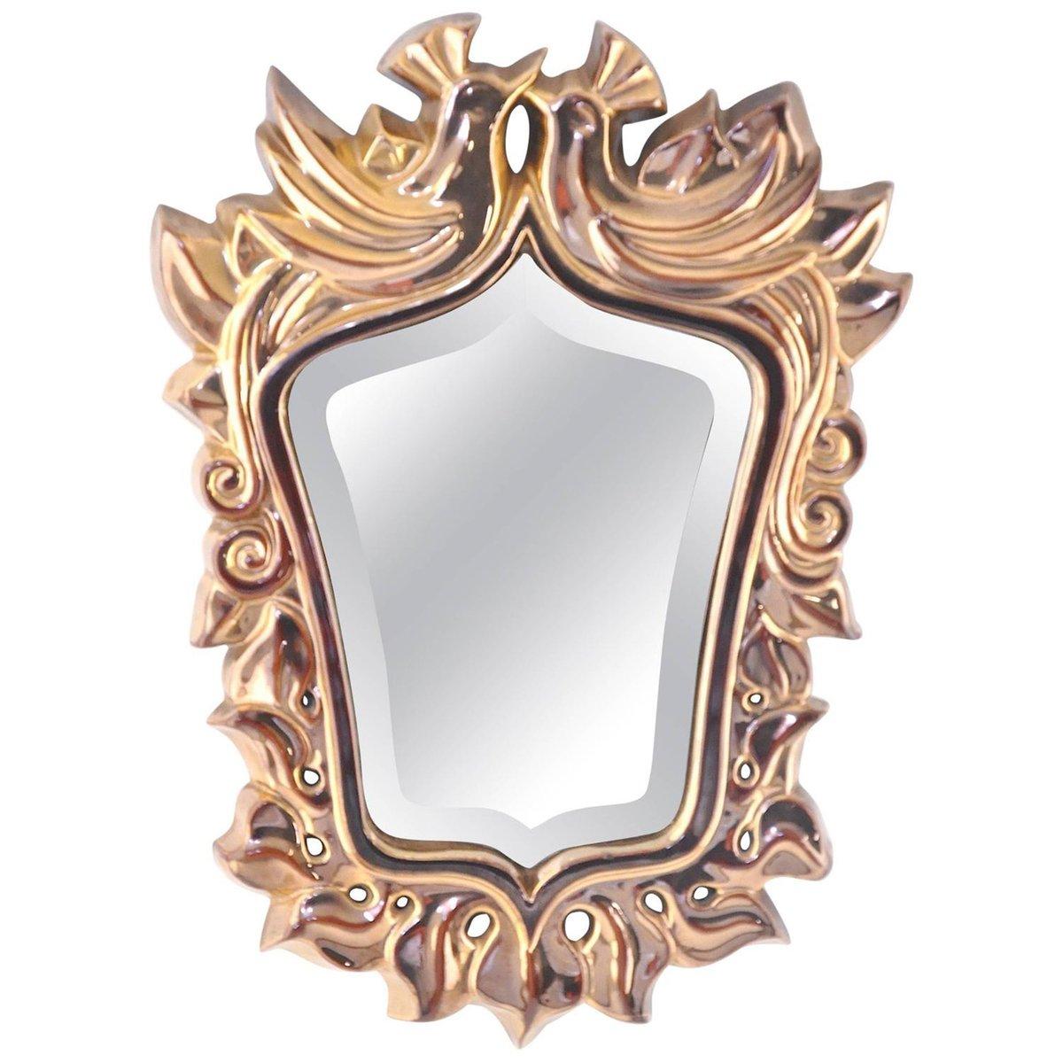 Miroir avec cadre en c ramique par giraud france 1950 en for Miroir avec cadre miroir