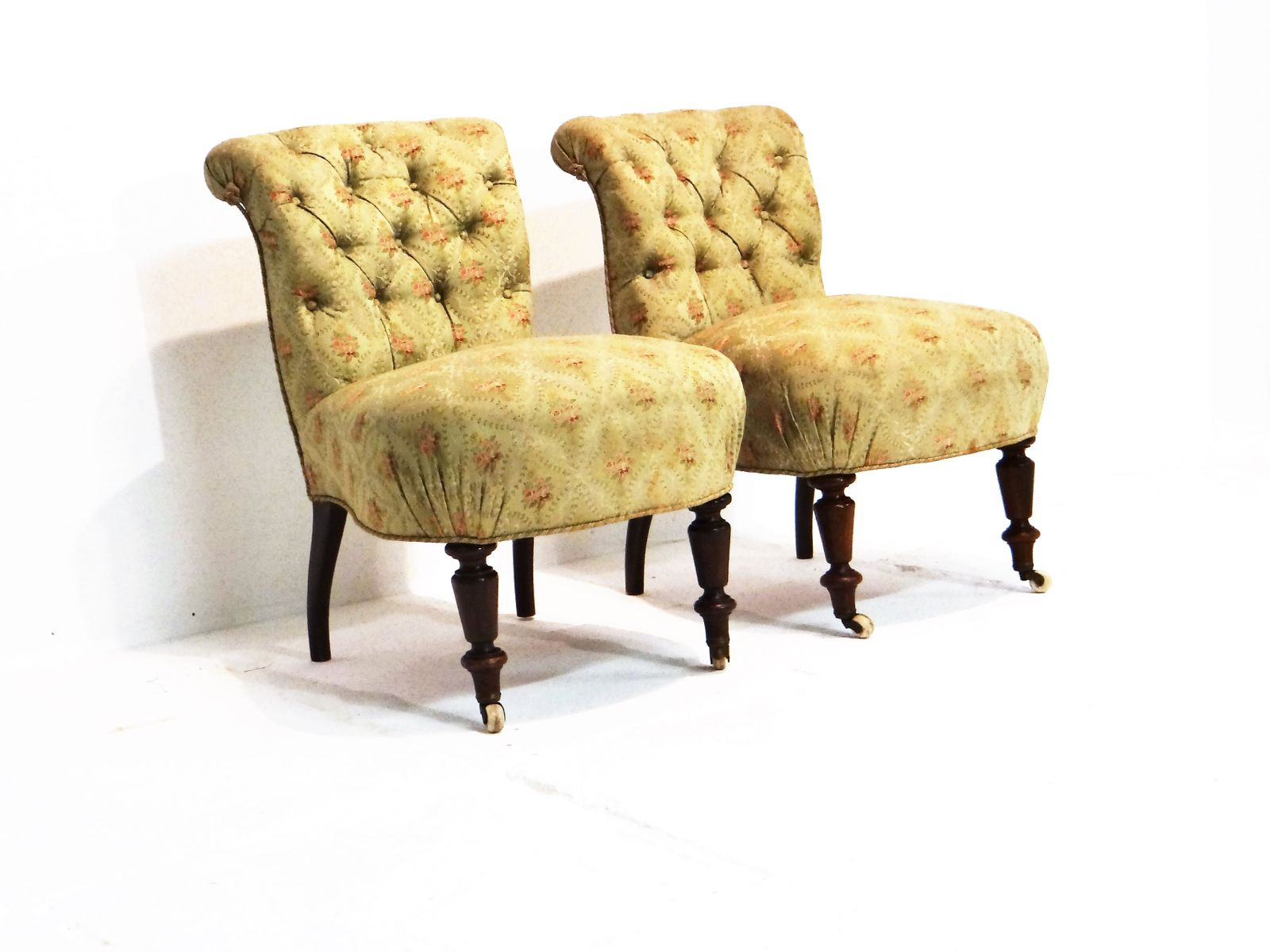 Green vintage easy side chairs set of 2 for sale at pamono for Side chairs for sale