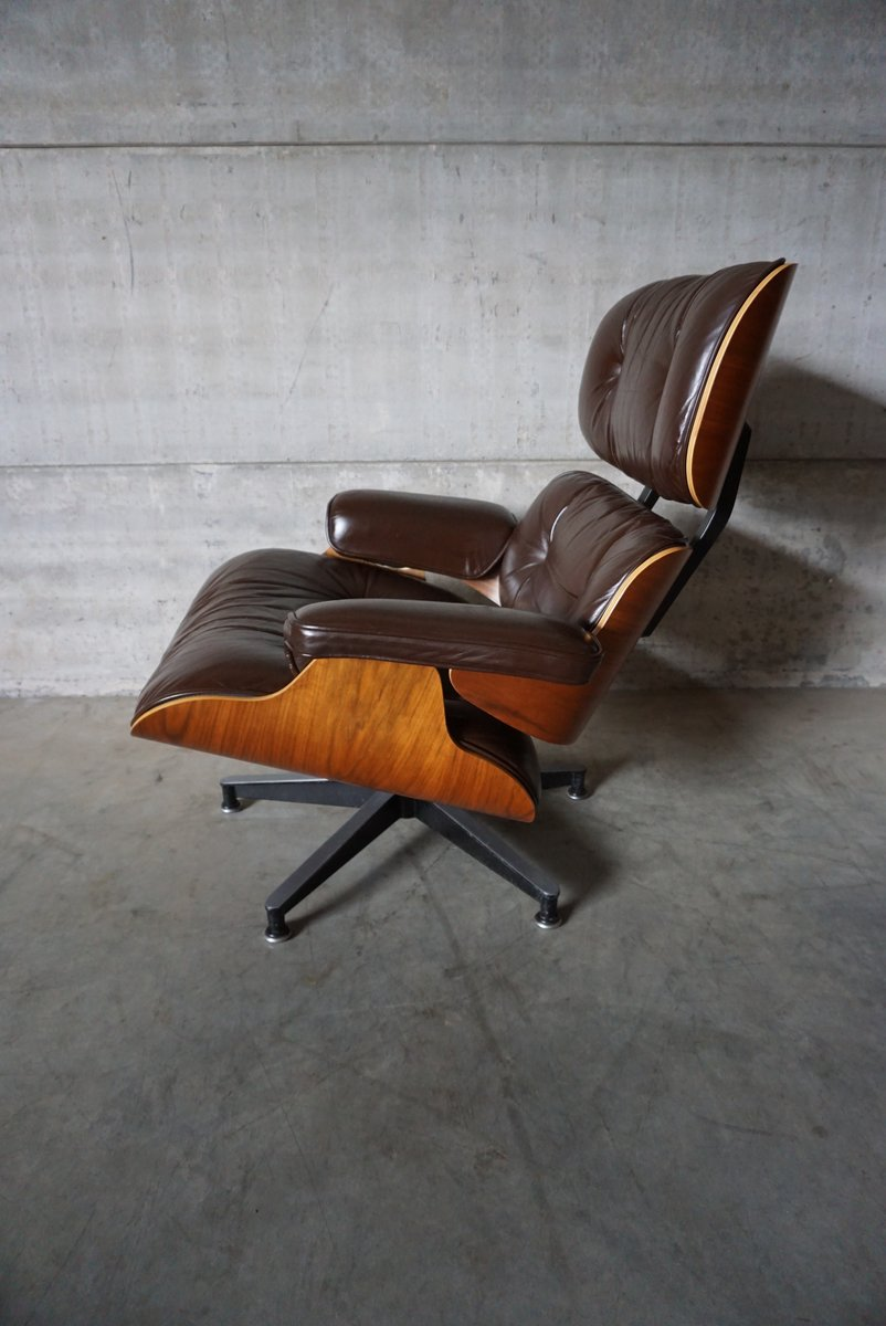 american model 670 walnut aluminium and leather swivel chair by charles and ray eames for. Black Bedroom Furniture Sets. Home Design Ideas