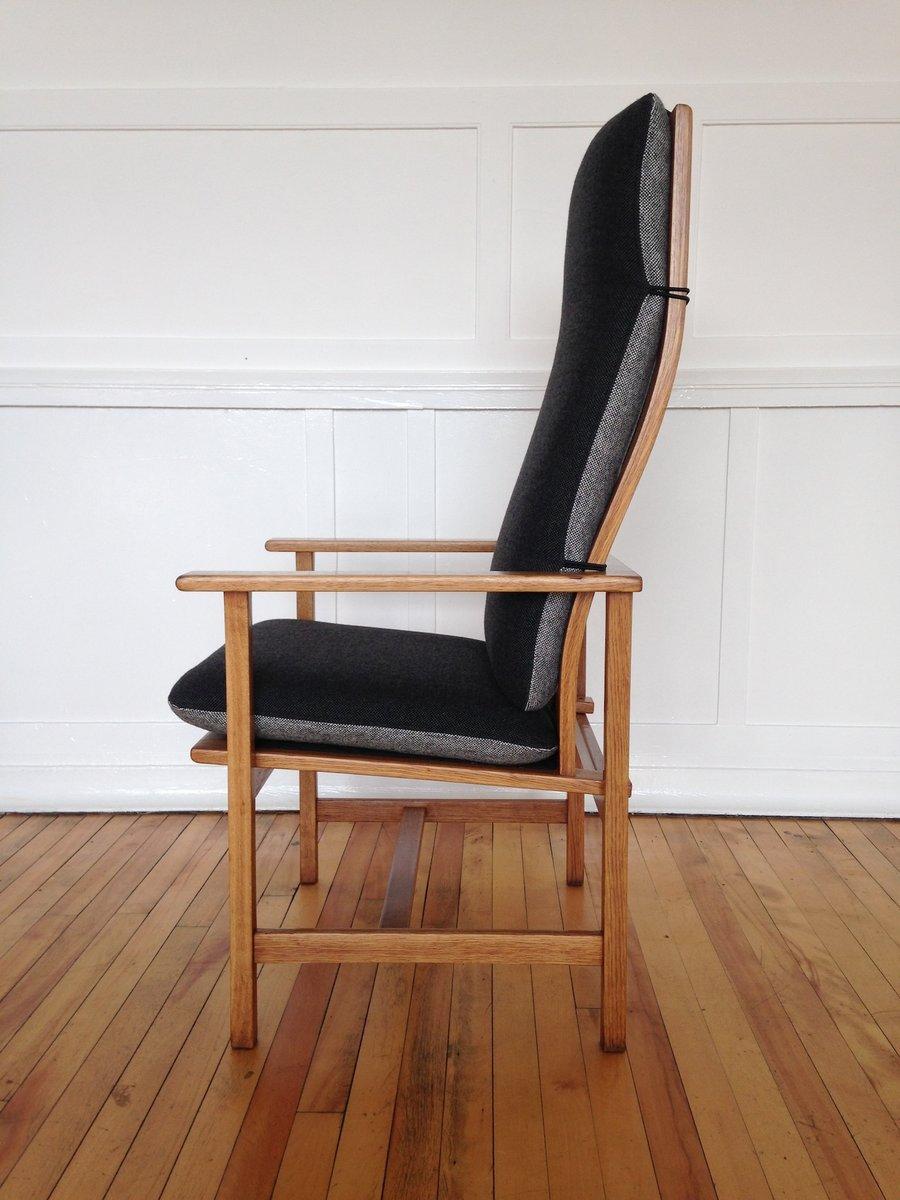 d nischer armlehnstuhl aus eichenholz und kvadrat stoff von b rge mogensen f r fredericia. Black Bedroom Furniture Sets. Home Design Ideas