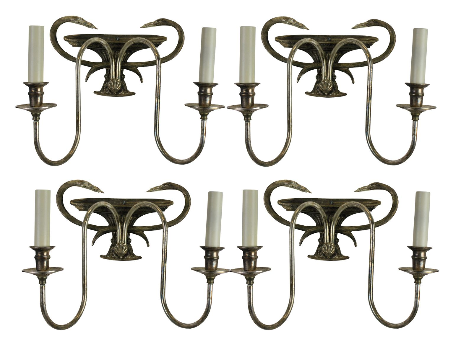 Wall Sconces Silver : French Silver Wall Sconces, 1960s, Set of 8 for sale at Pamono