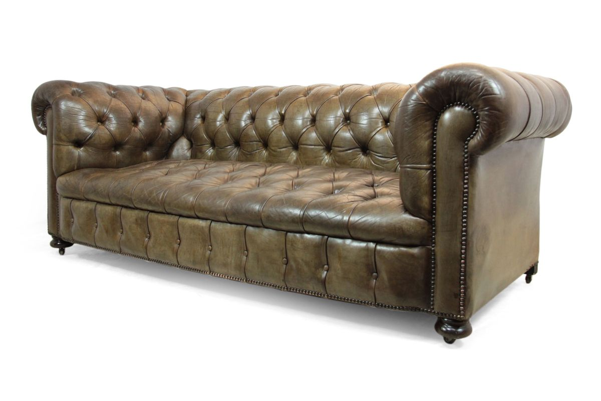 Leather Button Seat Chesterfield Sofa 1950s For Sale At