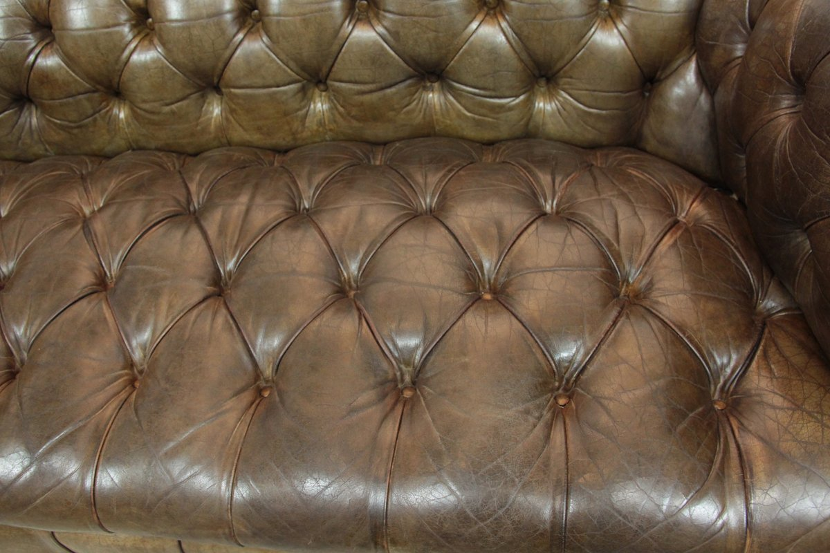 Button Couch Leather Button Seat Chesterfield Sofa 1950s For Sale At Pamono