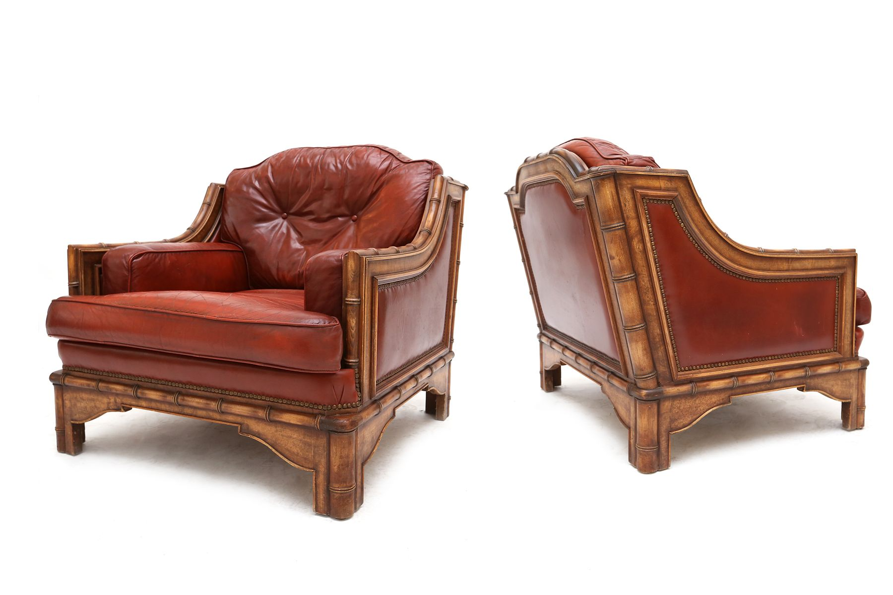 Red Leather & Bamboo Club Chairs 1960s Set of 2 for sale at Pamono