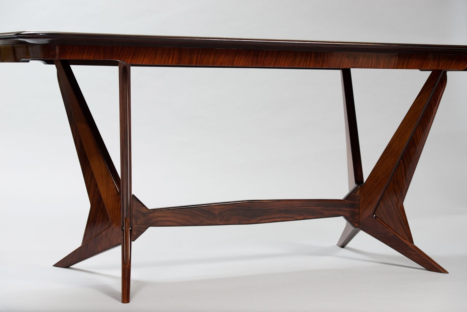Italian Mid Century Rosewood Dining Table With Glass Top