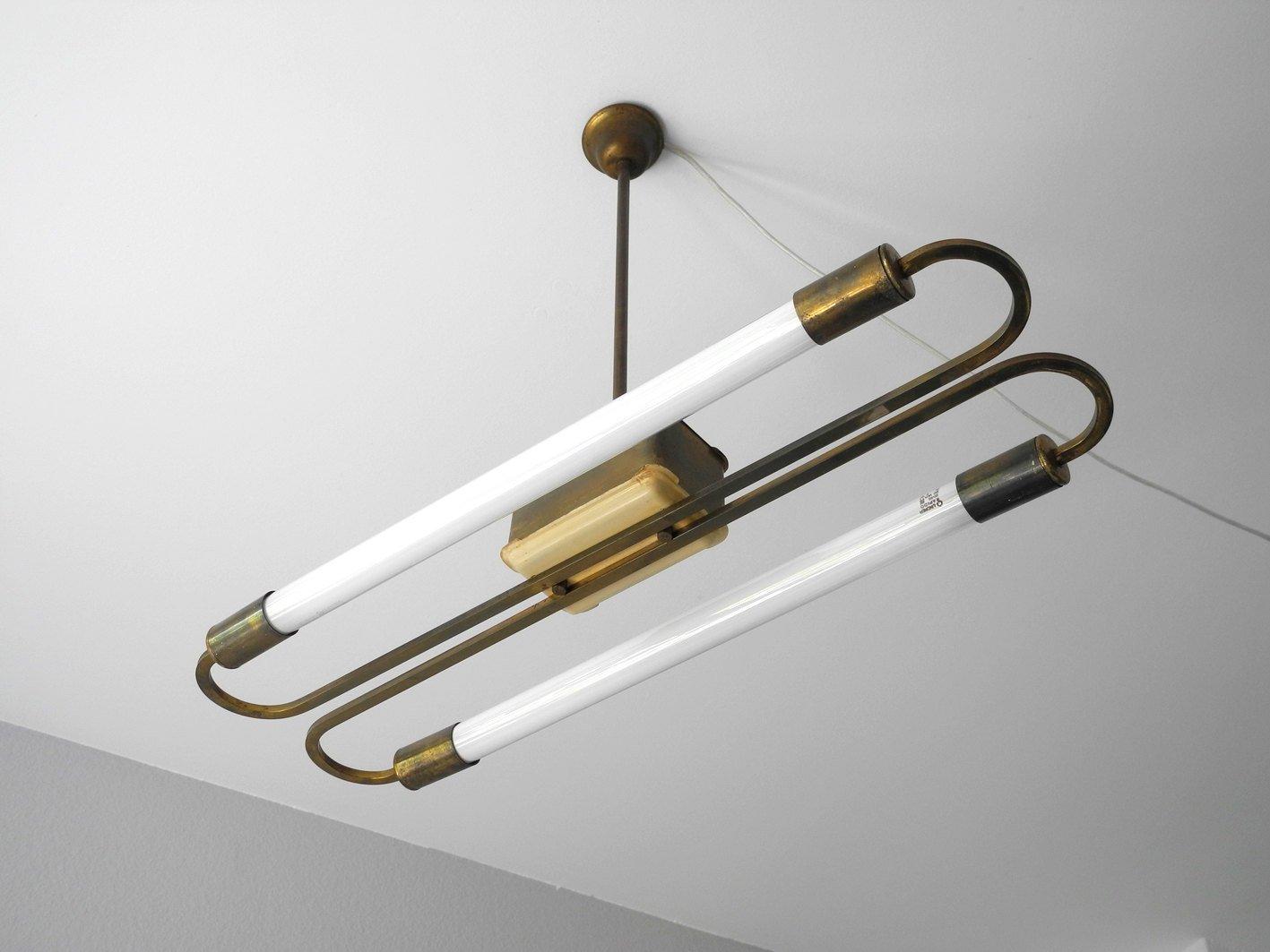 plafonnier en laiton avec tubes fluorescent 1950s en. Black Bedroom Furniture Sets. Home Design Ideas