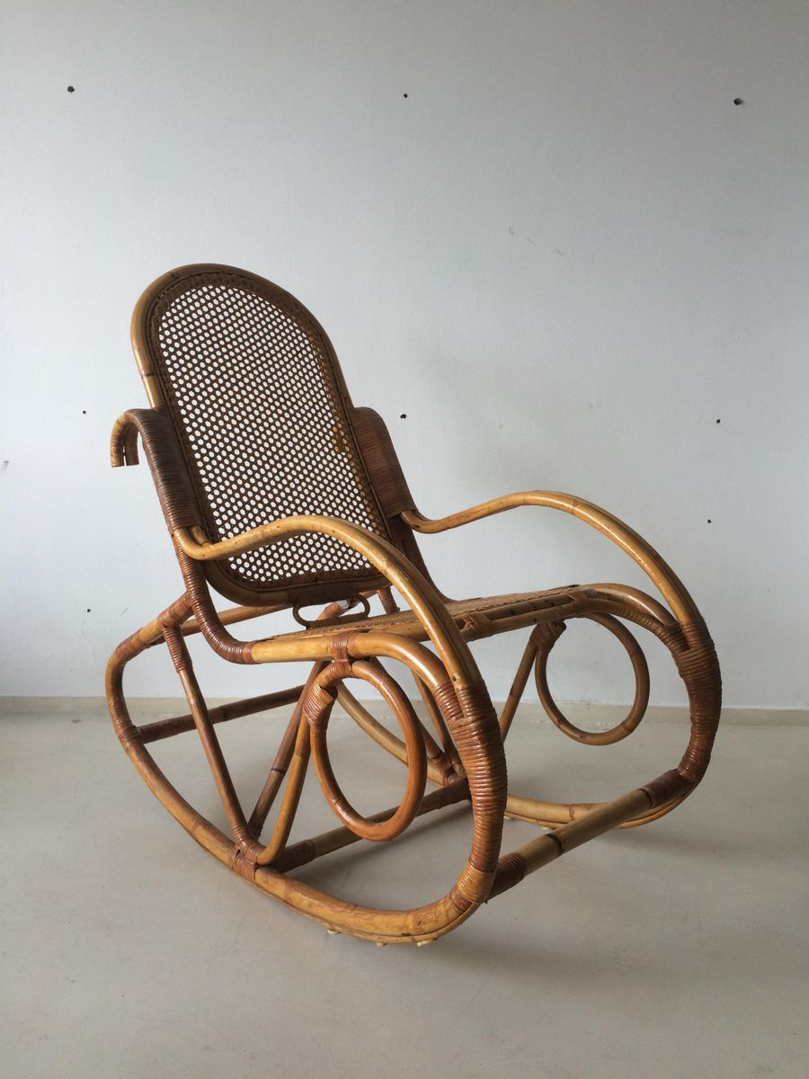 Dutch Vintage Bamboo Rocking Chair, 1960s for sale at Pamono