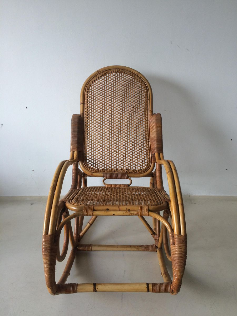 Dutch vintage bamboo rocking chair 1960s for sale at pamono for Dutch design chair uk