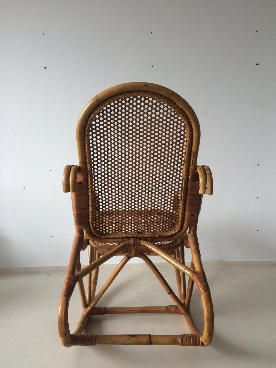 Dutch Vintage Bamboo Rocking Chair 1960s For Sale At Pamono