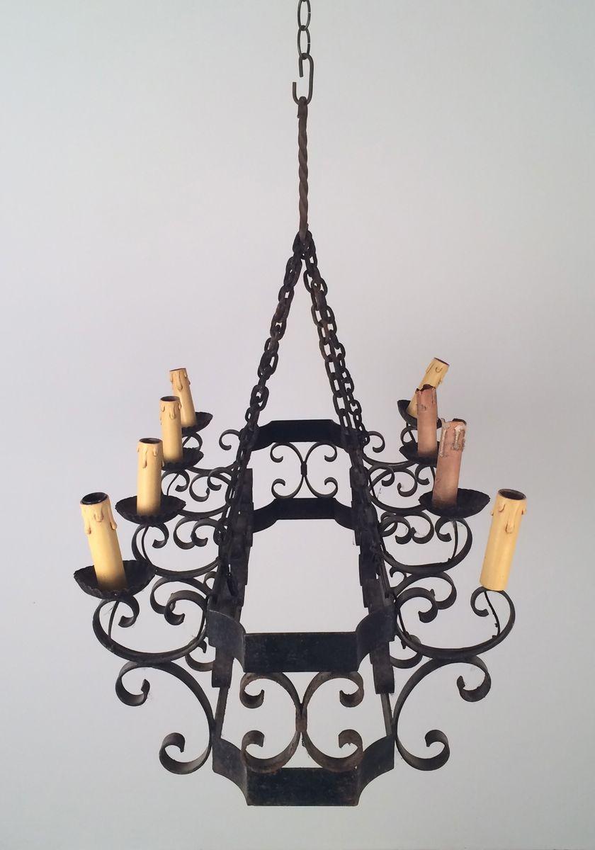 acht kerzen schmiedeeisen kronleuchter 1960er bei pamono kaufen. Black Bedroom Furniture Sets. Home Design Ideas
