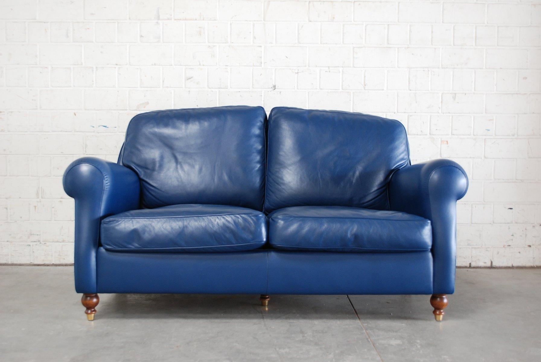 blaues george sofa aus leder von poltrona frau 1999 bei. Black Bedroom Furniture Sets. Home Design Ideas