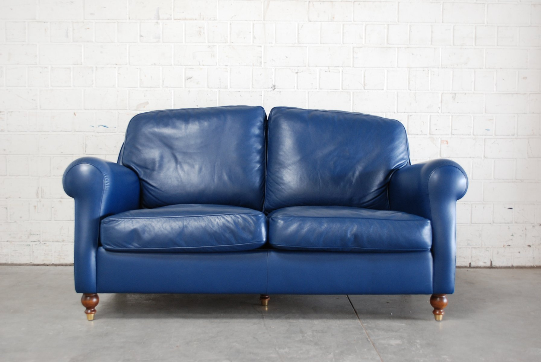 Blue Leather George Sofa From Poltrona Frau 1999 For Sale At Pamono