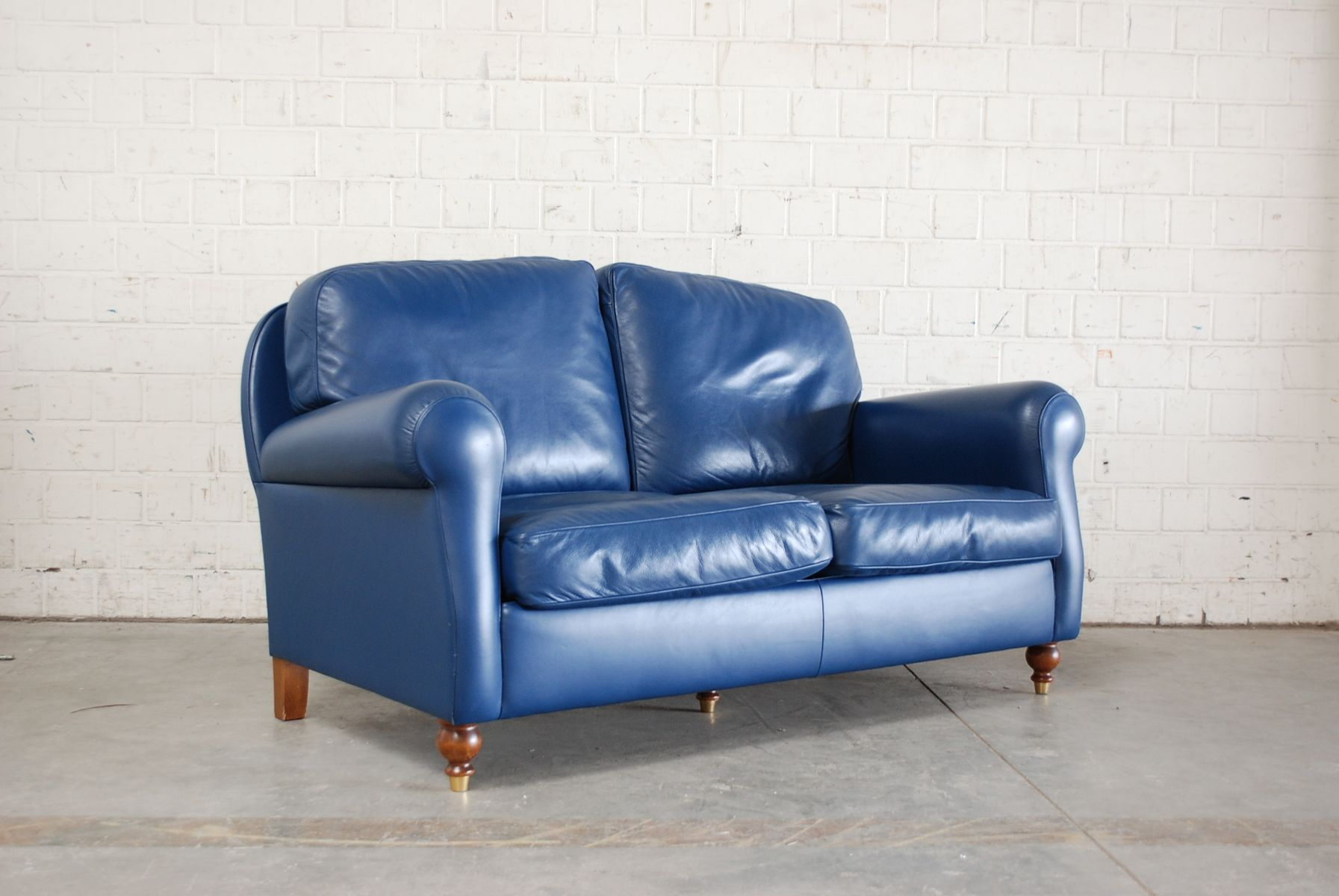 Blue leather george sofa from poltrona frau 1999 for sale for Blue leather sofa