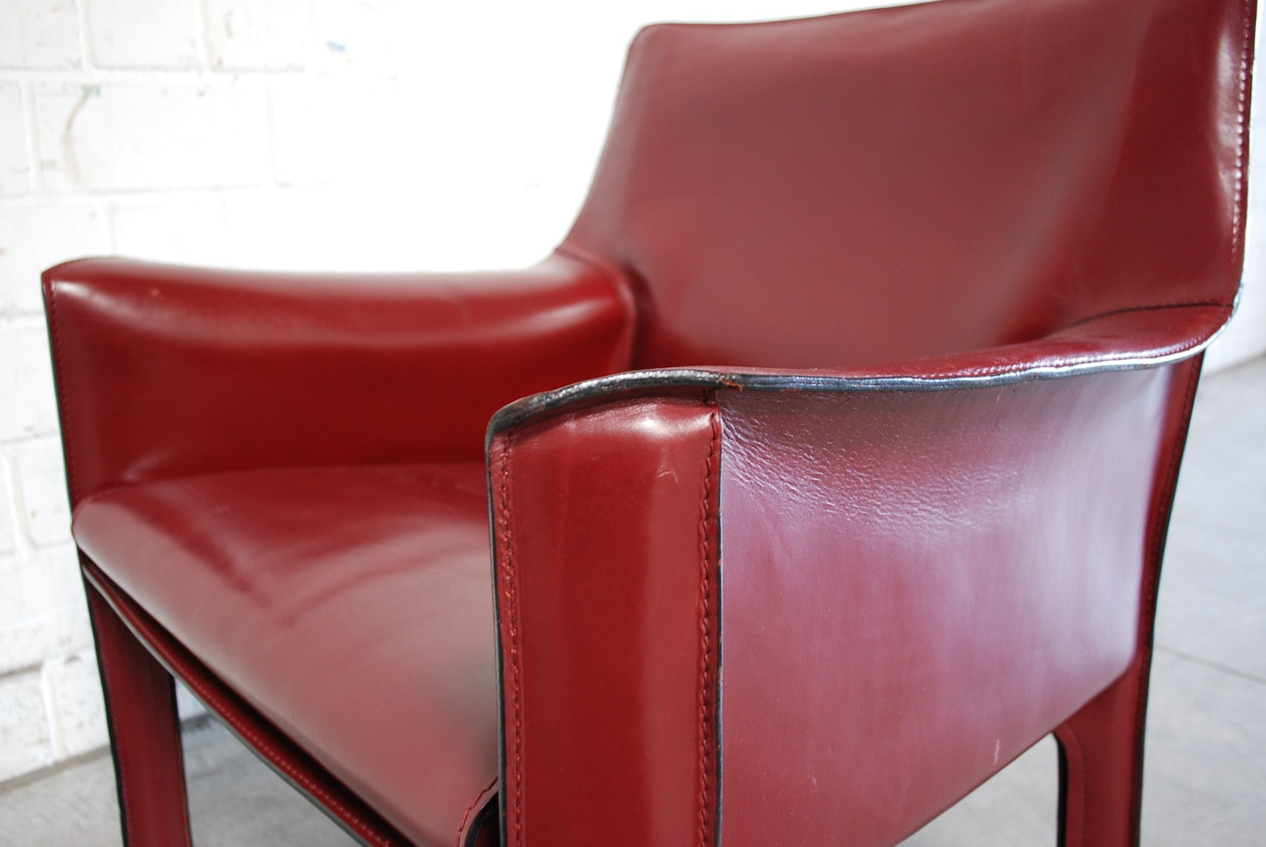 Bordeaux Red Cab 414 Lounge Chair by Mario Bellini for Cassina for