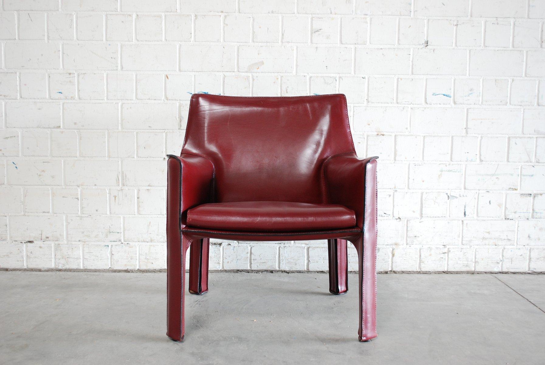 fauteuil cab 414 bordeaux par mario bellini pour cassina. Black Bedroom Furniture Sets. Home Design Ideas