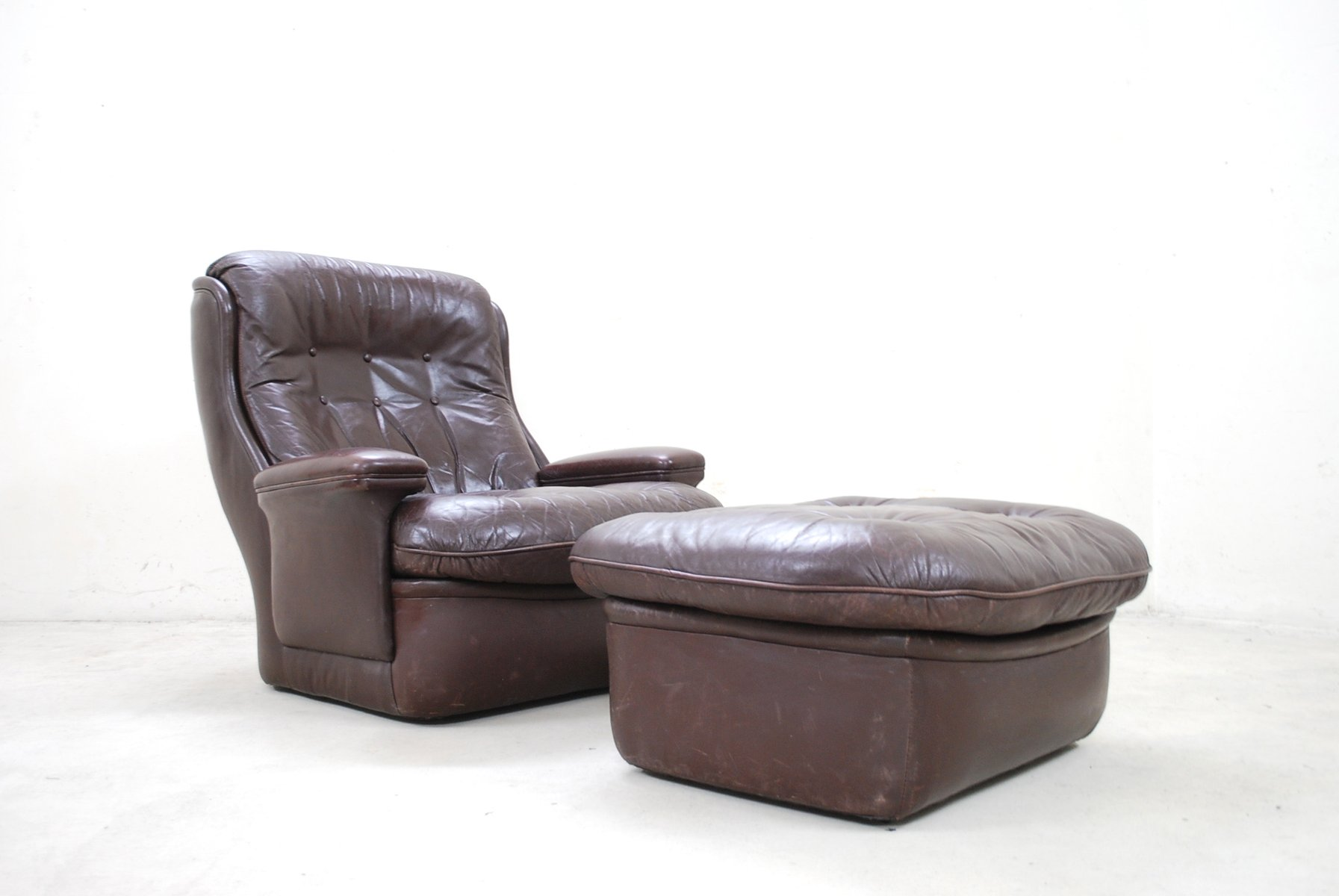 vintage brown leather lounge chair and ottoman from terstappen for