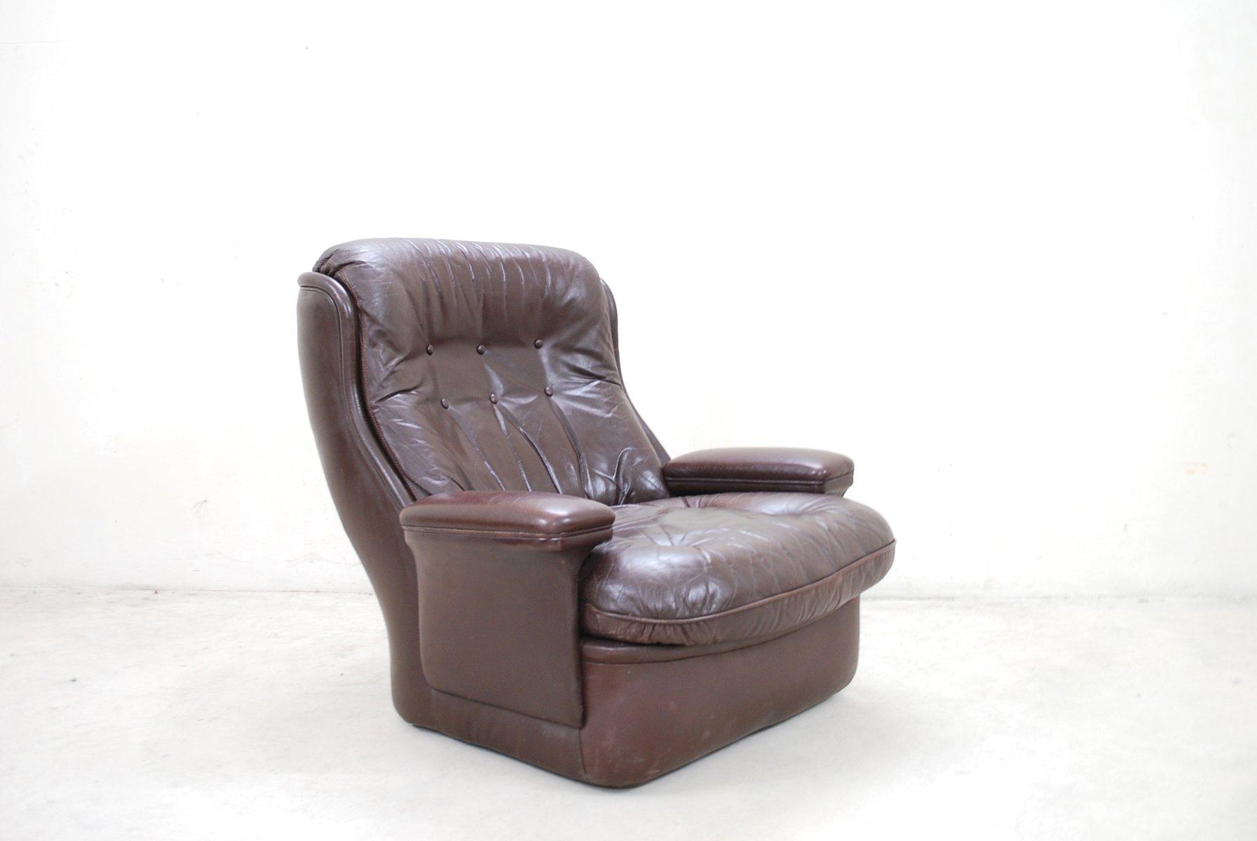 brauner vintage leder lounge stuhl und ottoman von. Black Bedroom Furniture Sets. Home Design Ideas