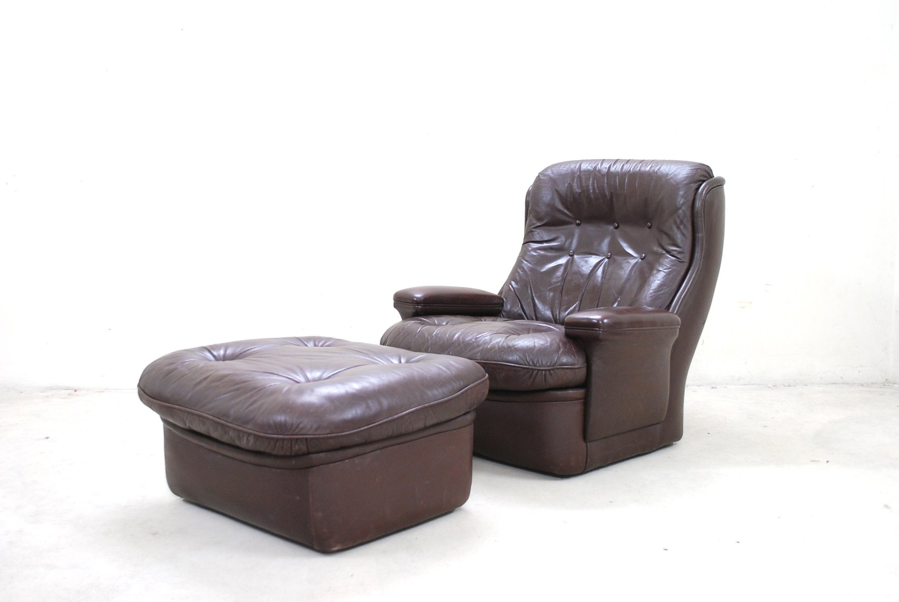 vintage brown leather lounge chair and ottoman from terstappen for  - vintage brown leather lounge chair and ottoman from terstappen