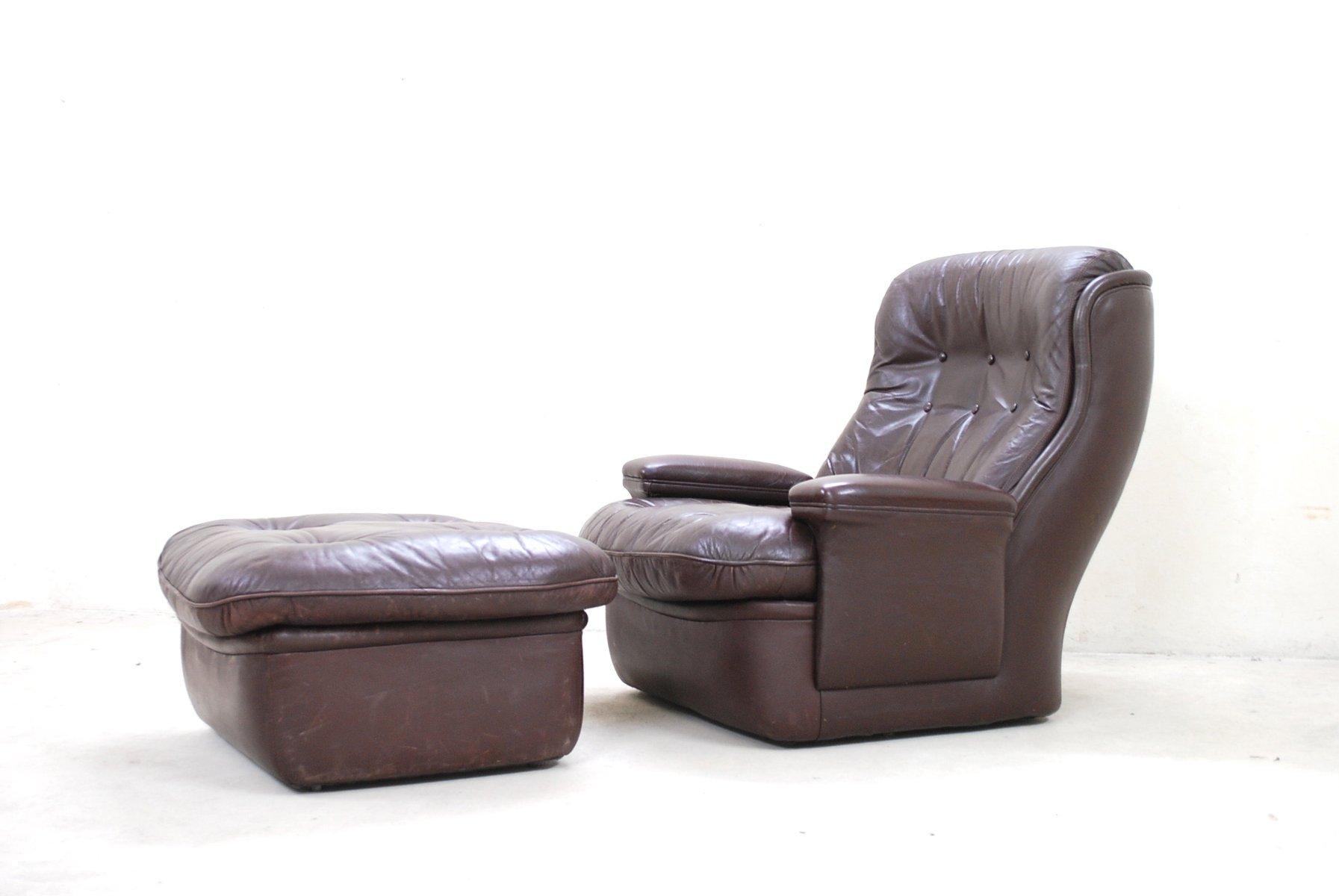 Brauner vintage leder lounge stuhl und ottoman von for Brauner stuhl