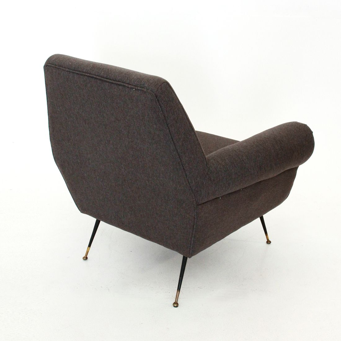 Italian Brown Armchair With Pointed Feet 1950s For Sale