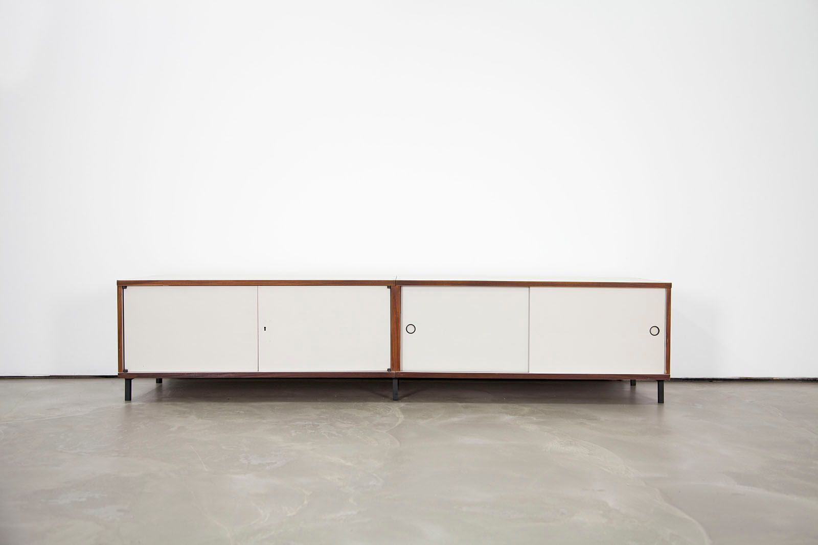 German m 125 formica sideboard with sliding doors by hans for Sliding glass doors germany