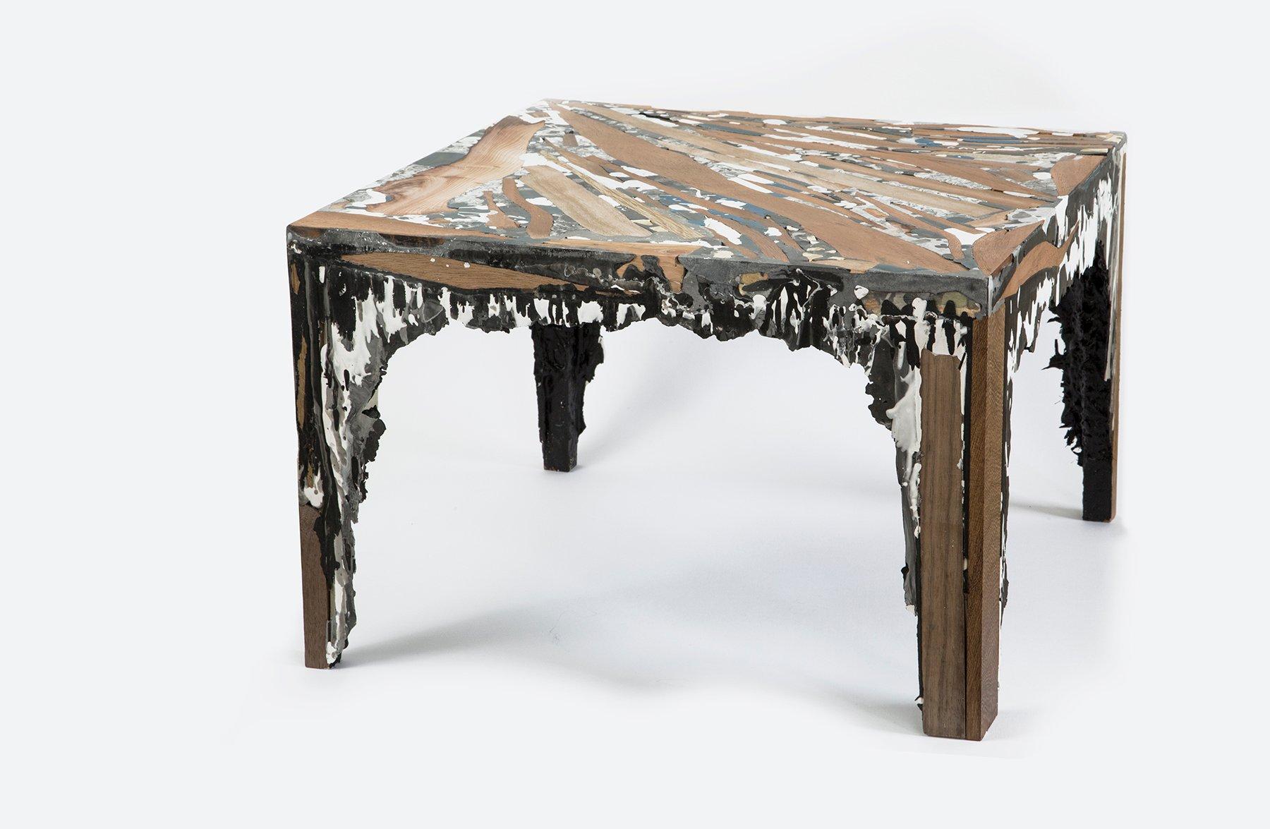 quadratischer schichtgestein tisch von rive roshan bei. Black Bedroom Furniture Sets. Home Design Ideas