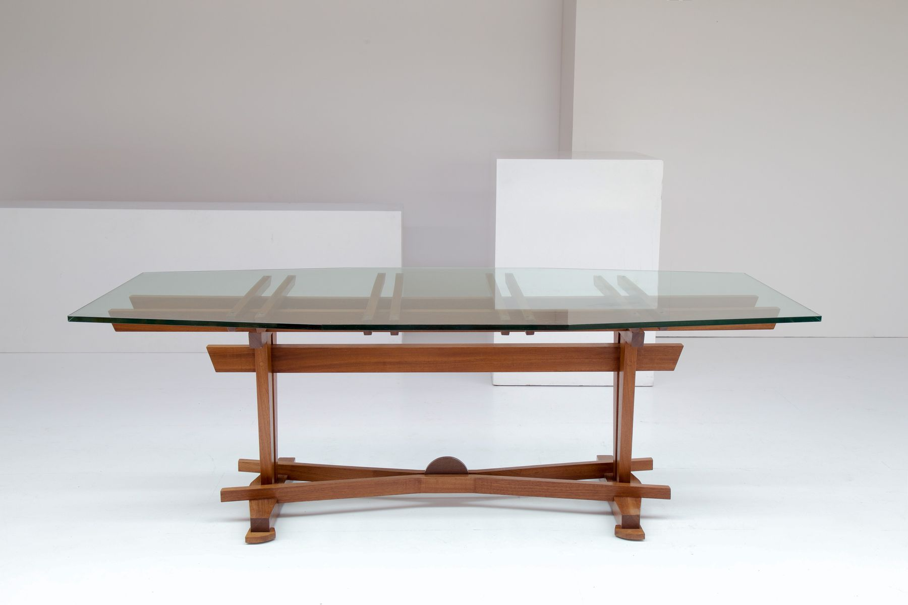 Vintage Wood Glass Dining Table By Koenraad Dewulf For Sale At
