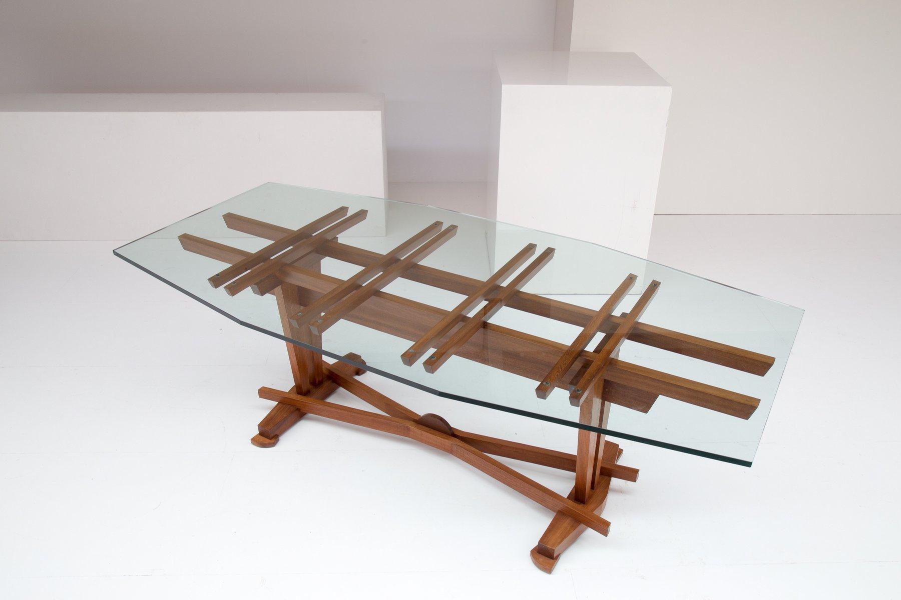 vintage esstisch aus holz glas von koenraad dewulf bei. Black Bedroom Furniture Sets. Home Design Ideas