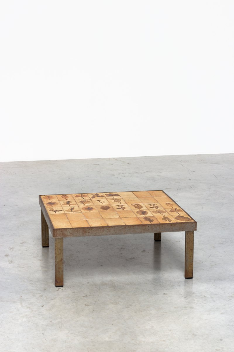 Garrigue series tile coffee table by roger capron for sale for Tile coffee table