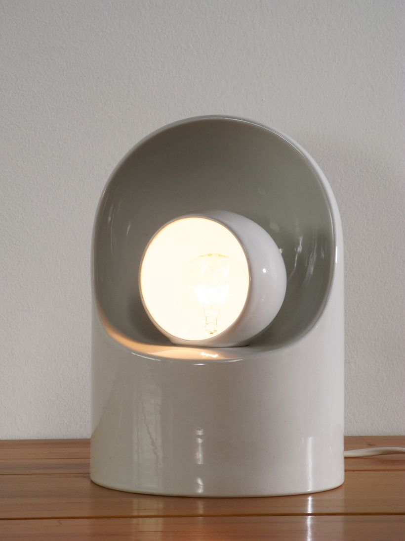 White Ceramic Table Lamp By Marcello Cuneo For Gabbianelli